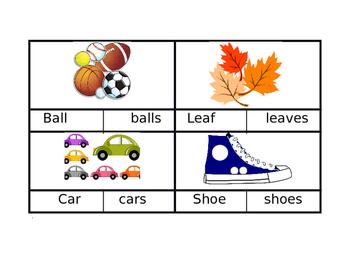 Singular and Plural Clip Cards (Editable)