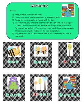 Singular and Plural Games and Activity Packet