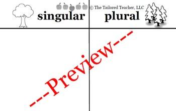 Singular and Plural Graphic Organizer (Bilngual)