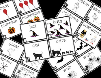 Halloween Singular and Plural Read Around the Room or Literacy Center