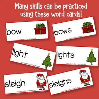 Singular and Plural Holiday Vocabulary Activity