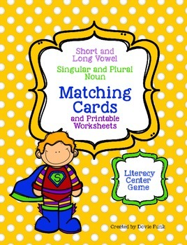 Singular and Plural Literacy Center Matching Cards and Pri