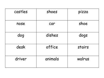 Singular and Plural Noun Identification