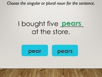 Singular and Plural Noun Interactive PowerPoint Lesson