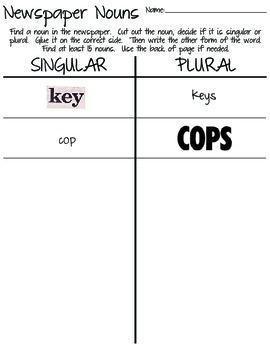 Singular and Plural Noun Newspaper Hunt