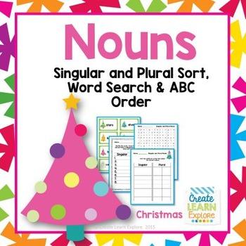 Singular and Plural Noun Sort Christmas Words