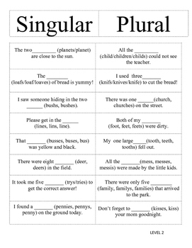Singular and Plural Noun Sort -Differentiated(two levels)
