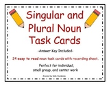 Singular and Plural Noun Task Cards (Easy to Read)