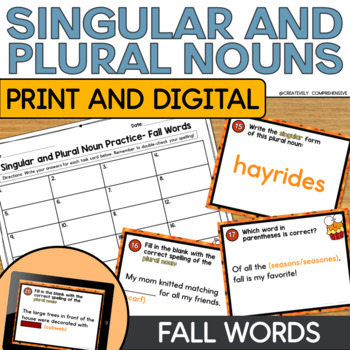 Singular and Plural Noun Task Cards Featuring Fall Words