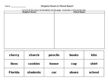 Singular and Plural Noun Word Sort