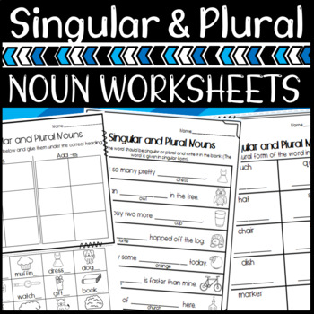 Singular and Plural Noun Worksheets! Two levels for Differ