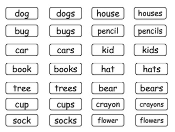 Singular and Plural Noun matching activity