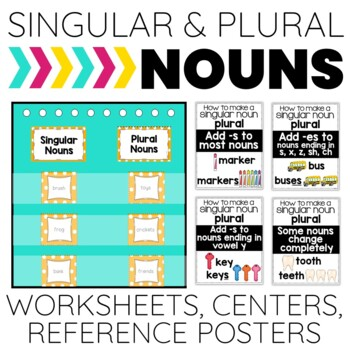 Singular and Plural Nouns: Reference Posters, A Center and No Prep Printables