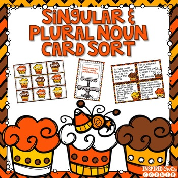 Fall Themed Singular and Plural Nouns Task Cards and Writing Center