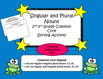 Singular and Plural Nouns: 2nd Grade Common Core Sorting Activity