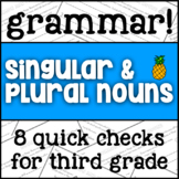 Singular and Plural Nouns - 3rd Grade Grammar Exit Ticket/Bell Ringer Assessment