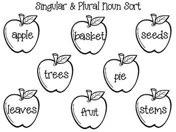 Singular and Plural Nouns Apple FREEBIE