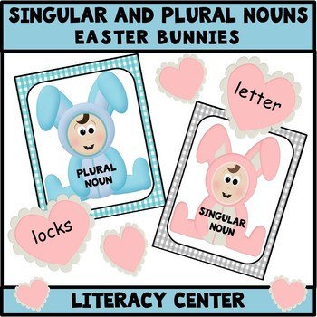 Singular and Plural Nouns Literacy Center - Easter
