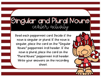 Singular and Plural Nouns Center