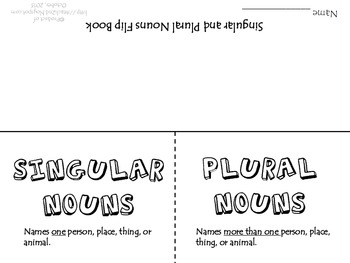 Singular and Plural Nouns Flip Book by iTeach 2nd | TpT