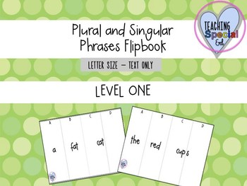 Singular and Plural Phrases Flipbook - LEVEL ONE