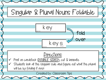 Singular and Plural Nouns Foldable