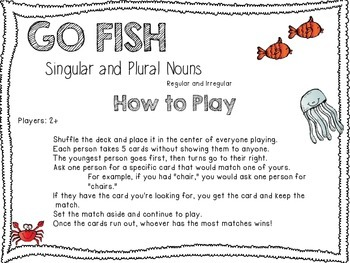 Singular and Plural Nouns Game/Center