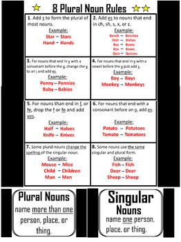 FREE Singular and Plural Nouns Lesson 1st Grade Posters Plural Noun rules
