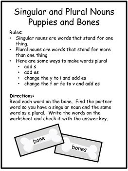 Singular and Plural Nouns Literacy Centers Task Cards and Worksheets