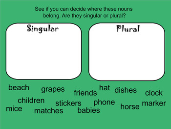 Singular and Plural Nouns Mini Lesson- Smart Notebook Lesson