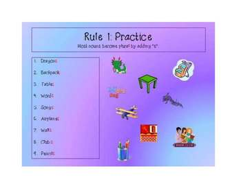 Singular and Plural Nouns (EDITABLE)Powerpoint, Worksheets, and Rule Page