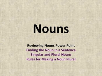 Singular and Plural Nouns Pratice Power Point