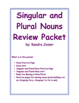 Singular and Plural Nouns Review Packet