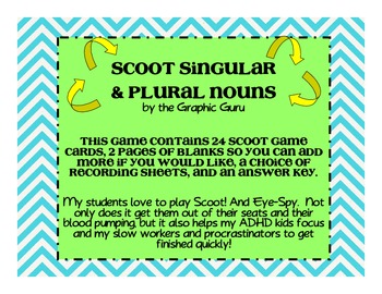 Singular and Plural Nouns Scoot/Eye-Spy