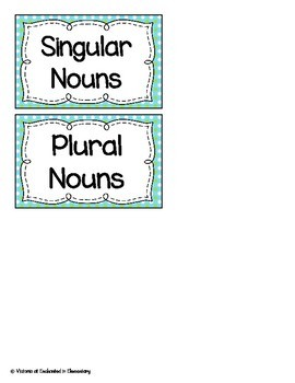 Singular and Plural Nouns Sort
