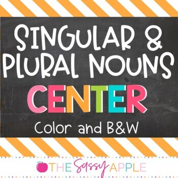 Singular and Plural Nouns Sorting Center: in Color and B&W options