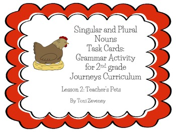 Singular and Plural Nouns Task Cards for Journeys Grade 2