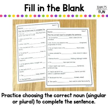 Singular and Plural Nouns Worksheets