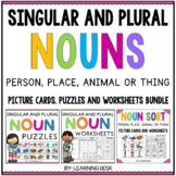Singular & Plural Nouns Worksheets ( Noun Puzzles & Noun Picture Sorts) BUNDLE