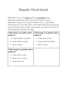 Singular and Plural Nouns with Exit Ticket - STAAR aligned