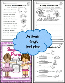 Singular and Plural Nouns with Matching Verbs Practice Printables