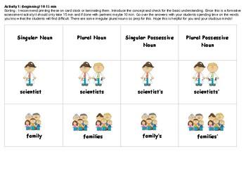 Singular and Plural Possessive Noun Activity