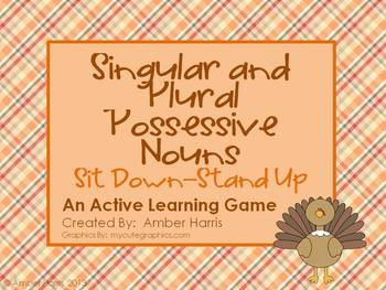 Possessive Noun Sit Down Stand Up Active Learning Game wit