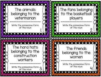 Singular and Plural Possessive Nouns Task Cards