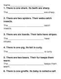 Singular and Plural Possessive Quiz/ Worksheet/ Test