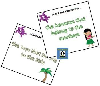 Singular and Plural Possessive Task Cards