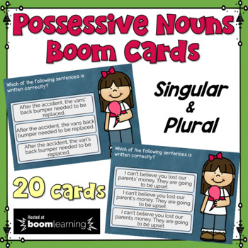 Singular and Plural Possessives Task Cards: BOOM Cards