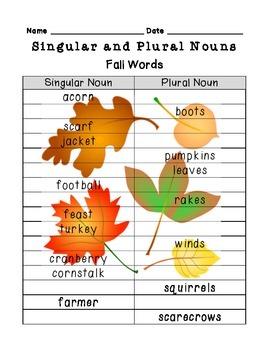 Singular and Plural Noun Review {the 4 seasons}