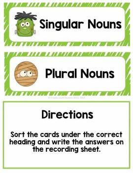 Singular and Plural Noun Sort Halloween Faces