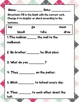 Singular and Plural Verbs Pack